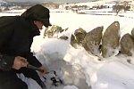 Zwei Schafe werden aus Schneemassen befreit