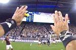 Fußballspiel aus der Sicht des Schiedsrichters