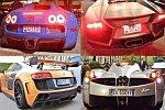 100 Luxus-Sportwagen beim Motorstart
