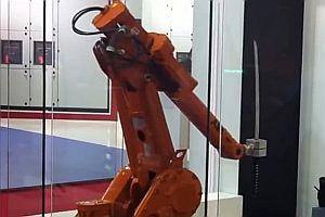 Schwertkampf zwischen zwei Roboterarmen