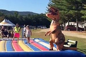 Dinosaurier auf Luftmatte
