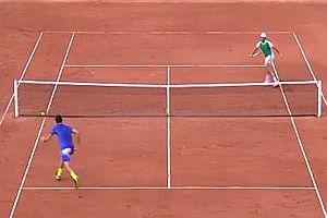 Starker Ballwechsel beim Tennis