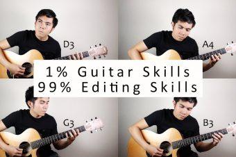 Video-Editor spielt Gitarre