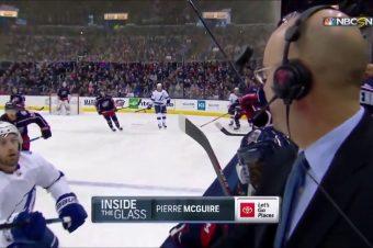 Eishockey-Puck verfehlt TV-Kommentator
